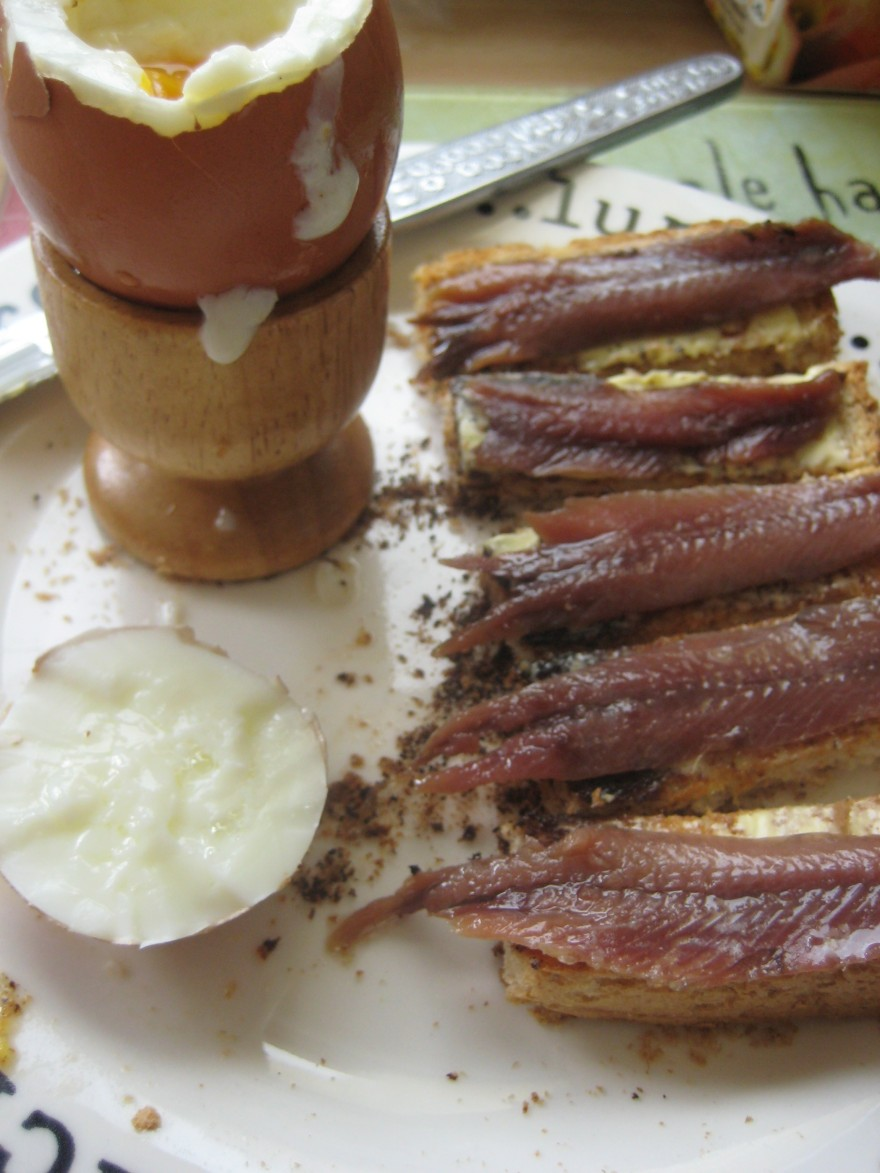 Boiled egg with anchovy soldiers