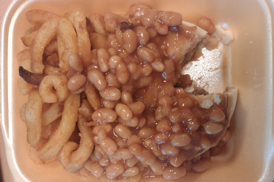 Pie, beans and curly fries